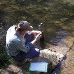 A Waterwatch volunteer conducting tests at their monitoring point