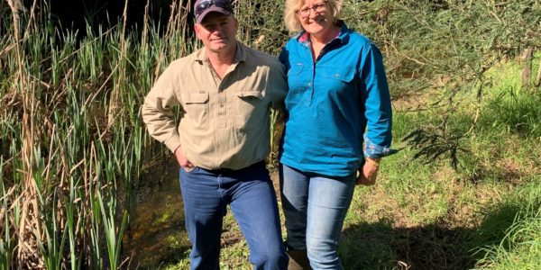 Justin and Melissa Ainsworth pictured alongside Merrimans Creek which runs through their Stradbroke property