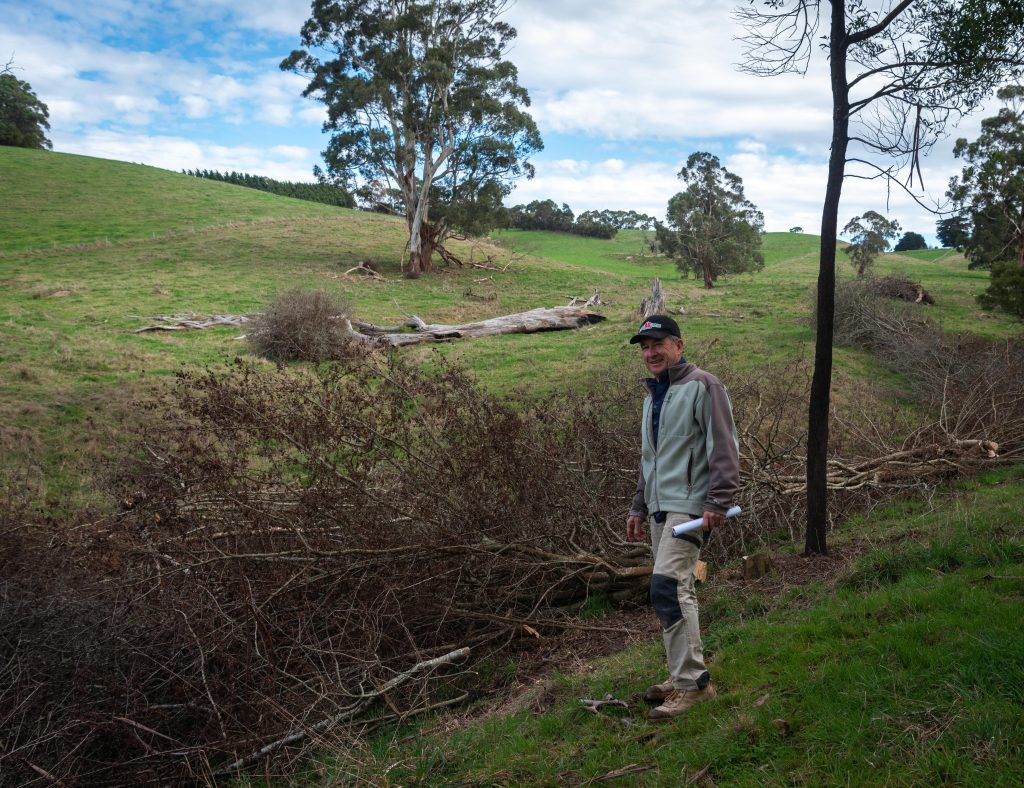 Chris Miller standing beside Foster Creek looking at the treated hawthorn