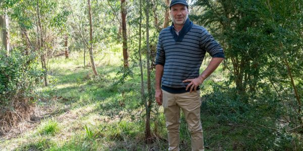 Tim Blake at a revegetation site on his property on Bennison Creek