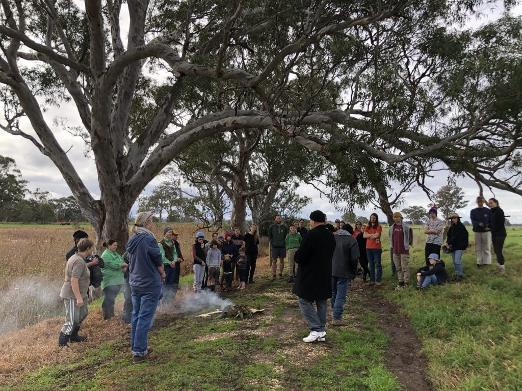 Uncle Lloyd Hood from GLaWAC welcomes Gippsland Intrepid Landcarers and others to country at the recent planting day in Newry.