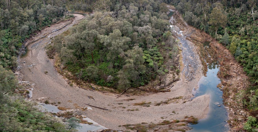 Aerial image of the Thomson River Fishway showing damage after the June 2021 flood